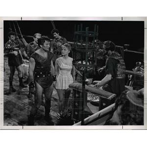 1960 Press Photo Jack Palance Melodie O'Brien Rivak The Barbarian - orp22779