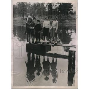 1936 Photo Chief Needahbah from Penobscot Tribe Teaches 3 Small Childr