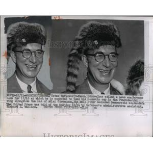 1955 Press Photo Wash Dc Sen Estes Kefauver D of Tn in coonskin cap - nee02978