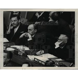 1953 Press Photo US Ambassador Henry Cabot Lodge & Britains Gladwyn Jebb at UN