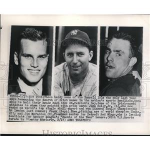 1948 Press Photo NYC Joh Kelly Jr,crew:Frank Shea Yankees, Jim McFadden Red Wing