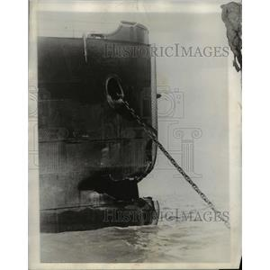 1927 Press Photo Hole In Bow Of Sac City Resting At Anchor After Accident