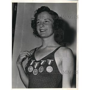 1938 Press Photo Katherine Rawls Thompson, won the Women's National A.A.U.