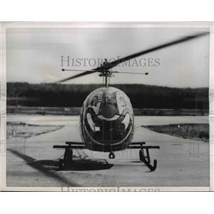 1956 Press Photo H-13 Modified Helicopter With Bozo Make Up On It - nee37977