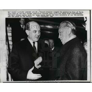 1962 Press Photo Dean Rusk greets Konrad Adenauer to Andrews Air Force Base