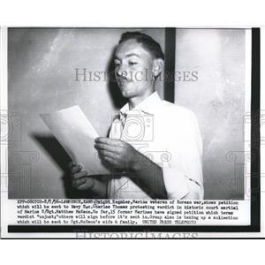 1956 Press Photo Dwight Regnier, petition sent to Navy Sec. Charles Thomas, Kans