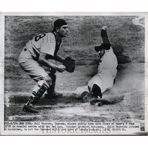 1951 Press Photo Yankee Phil Rizzuto slides home vs Red Sox Aaron Robinson