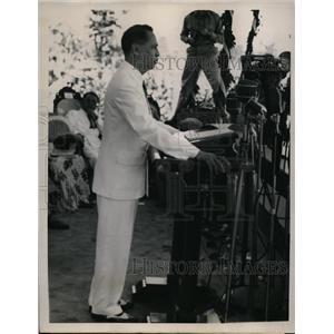 1946 Press Photo President Manuel Roxas Philippines Inaugural address at oath