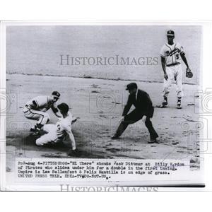 1956 Press Photo Jack Dittmer of Braves vs Billy Virdon of Pirates at Pittsburgh
