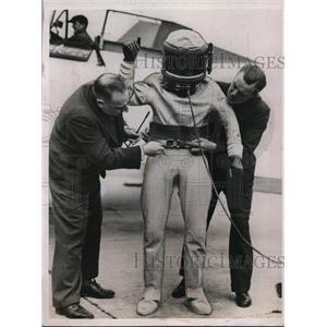 1937 Press Photo Flight Lt MJ Adams Royal Air Force Fitted in Oxygen Suit