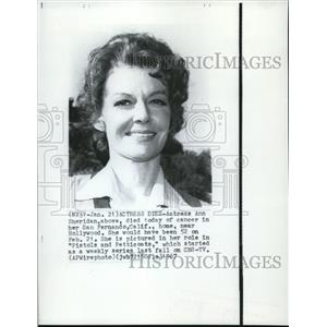 1967 Wire Photo Actress Ann Sheridan Died of Cancer in San Francisco California