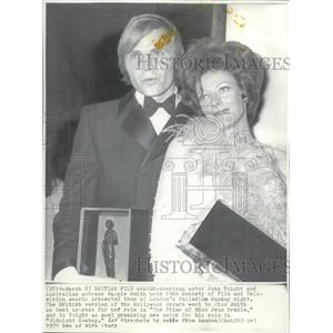 1970 Wire Photo Actor John Voight & actress Maggie Smith on British Film Awards