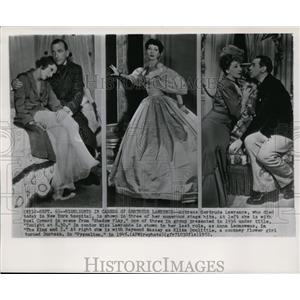 1945 Wire Photo Actress Gertude lawrence with his three numeroes stage hits.