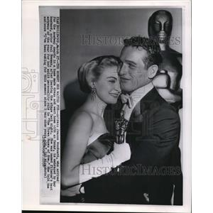 1958 Wire Photoc Actress Joanne Woodward embrace by her husband Paul Newman.