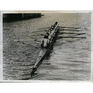 1934 Press Photo Oxford ladies crew training on river at Oxford England