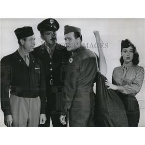 1957 Press Photo E Kovacs, Jack Lemmon, A OConnell, Grant Operation Mad Ball