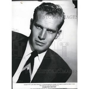 1951 Press Photo actor Charlton Heston starring in Naked Jungle