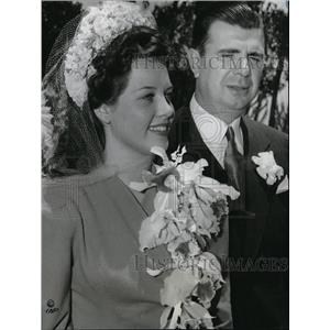 1941 Press Photo Ken Murray and Cleatus Caldwell Wedding