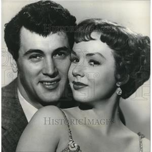1952 Press Photo Rock Hudson with Piper Laurie for a sunday movie