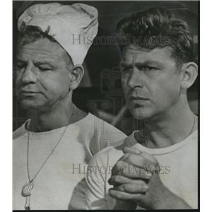 1958 Press Photo Walter Matthau and Andy Griffith in movie Onionhead