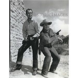 1958 Press Photo Alan Ladd and Ernest Borgnine stars in The Badlanders Film.