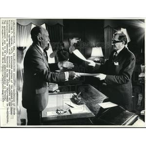 1973 Wire Photo Secretary of State William Rogers with Jaroslav Zantovsky