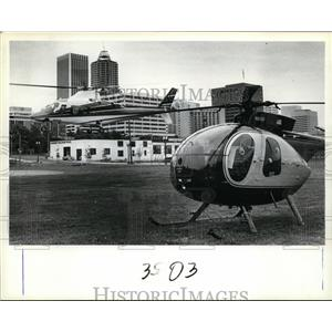 1983 Press Photo Helicopter carrying City Commissioner Margaret Strachan