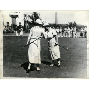 1935 Press Photo Mrs Joe Byoulek, Maureen Orcutt at 3rd Miami Biltmore golf