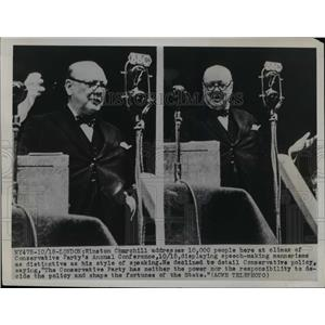 1949 Press Photo Winston Churchill addresses Conservative Party Conference
