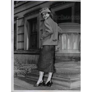 1956 Press Photo Three piece suit dress & coat on a fashion model  - nee89737