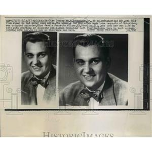 1957 Press Photo Wm.E.Schneider Jr. isc Jockey inherited $65,000 from a fan