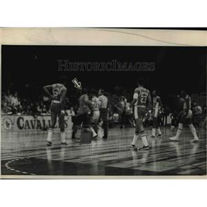 1973 Press Photo With a chair he had tossed onto the court behind him.