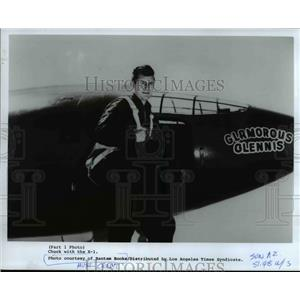 1985 Press Photo Chuck Yeager Poses Before the X-1 in Which He Made his Flight
