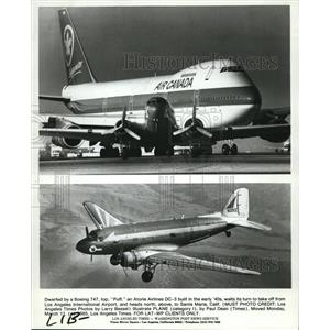 1985 Press Photo Plane built in the early '4os waits its turn to take off