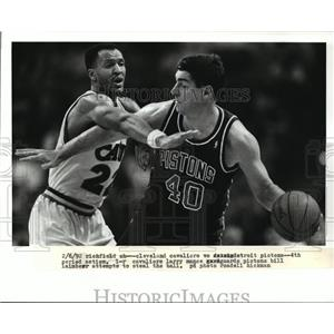 1992 Press Photo Richfield Ohio-Cleveland Cavaliers vs Detroit Pistons