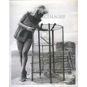 1957 Press Photo Joan Cunningham Fishing Net British