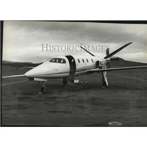 1983 Press Photo Lear Fan turboprop on the factory runway in Stead Nevada