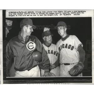 1960 Press Photo Chicago Cubs pitcher Glen Hobbie (r) with Chrlie Grim.