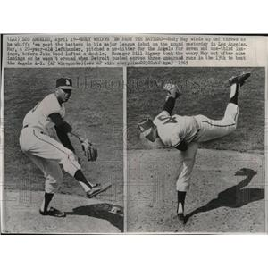 1965 Press Photo Rudy May winds up and throws  in his major league debut.