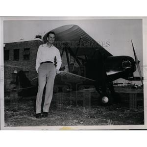 1945 Press Photo Pilot Larry Uhlich Realized Ambition by Building a Small Plane