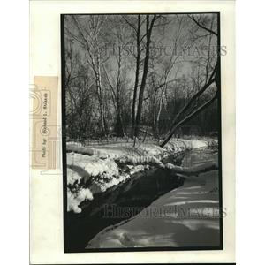 1979 Press Photo Mahon Creek in the winter woods of Brown County - mja35642