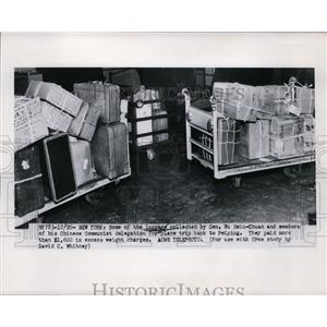 1950 Press Photo Luggage Collected by Gen. Wu Haiu-Chuan & Chinese Delegates