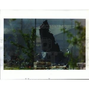 1994 Press Photo Charred wreckage from B-52 crash at Fairchild Air Force Base