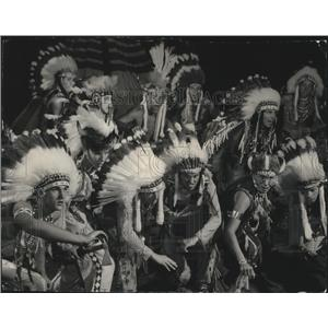 """1954 Press Photo A dance of """"chiefs"""" was part of Boy Scout court of honor"""