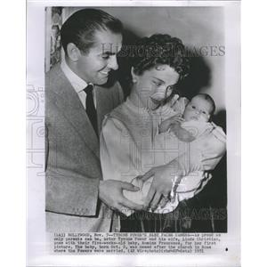 1951 Press Photo Tyrone Power, wife and baby - RRR68549