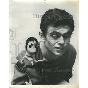 1958 Press Photo Gilles Segal playing with his puppet