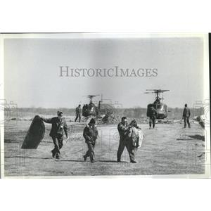 1982 Press Photo Investigators Search Jet Tanker Crash
