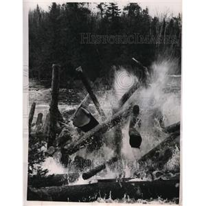 1949 Vintage Photo Ontario Canada Logs are Harvested for Paper Mills.