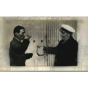 1938 Press Photo Douglas Corrigan Drinking Water at Baldonnel Aerodrome, Ireland