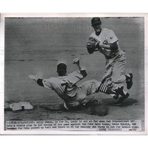 1951 Press Photo Cardinals' Solly Hemus out at 2nd vs Cubs' Eddie Miksis